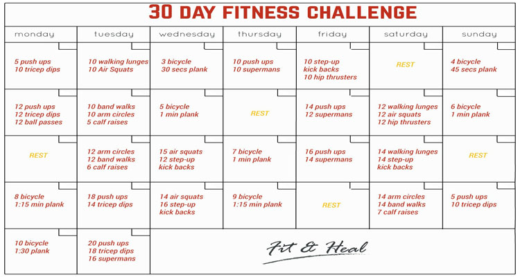 30 Day Fitness Challenge - Fit and Heal